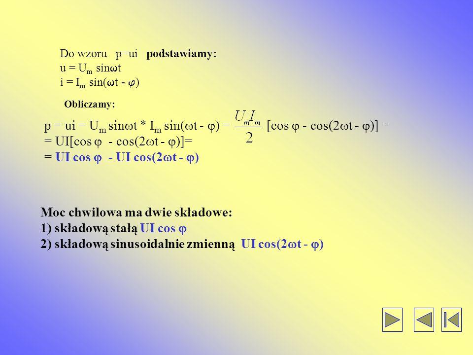 p = ui = Um sint * Im sin(t - ) = [cos  - cos(2t - )] =